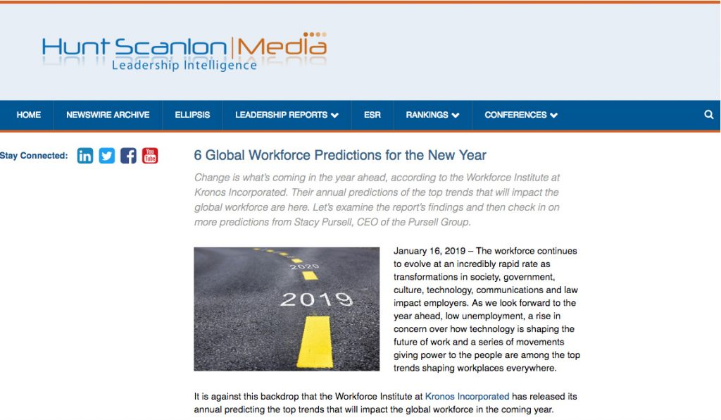 Executive Recruiter Hunt Scanlon Workforce Predictions